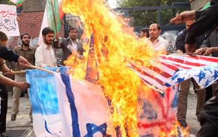 flaggbränning-USA-Israel